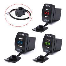 3.1A Dual USB Socket Charger Power Adapter LED Voltmeter 12V 24V For Car Motor