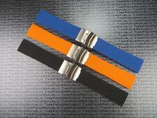 22mm Soft Rubber Strap Diver Deployment Watch Band Black Blue Orange IWC RX