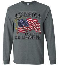 American Flag USA MAGA America First Trump Decal Tee Shirt Long Sleeve Mens