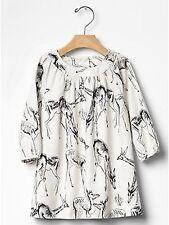 NWT BABY GAP GIRL'S SLOE GIN REINDEER PRINTED DRESS 100% COTTON (5 YEARS)
