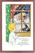 Boy looks at Large SANTA Face looking in window Hello Santa Merry Christmas