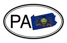 Pennsylvania State Flag Oval Car Vinyl Sticker - Select Size