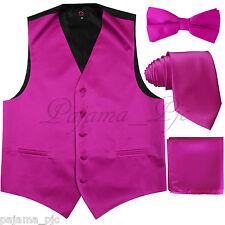 Fuchsia Solid Vest Waistcoat and Straight Cut Bow Tie & Neck tie & Hanky Wedding