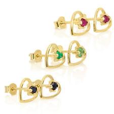 Pendientes Oro 9 Kt Silueta Corazón Piedra Preciosa|2mm|Esmeralda, Zafiro o Rubí