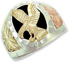 Landstrom's Mens Black Hills Gold on Sterling Black Onyx Eagle Ring MRL02402
