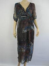 Crossroads Ladies Chiffon Shirt Wrap Dress sizes 8 10 Colour 70s Patchwork