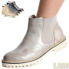 Damen Stiefeletten Chelsea Boots Booties Stiefel Damenschuhe WoW