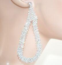 Orecchini ARGENTO eleganti STRASS a goccia cristalli da cerimonia boucles 1075