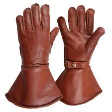 Goldtop Fleece Lined Brown Leather Motorcycle & Aviator Despatch Gauntlet Gloves