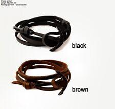 Men Women Unisex Black Anchor Black Brown Leather Bangle Bracelet Jewellery Gift
