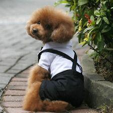 Dog Pet Bow Tie Jumpsuit Puppy Summer Clothes Wedding Party Costume Shirt Pants