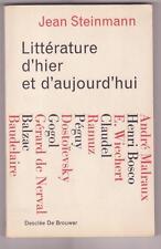 Littérature d'hier et d'aujourd'hui Jean STEINMANN