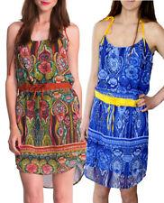 DESIGUAL EDITH DRESS 36-44 8-16 RRP£84  GREEN / BLUE YELLOW CHIFFON DRAWSTRING