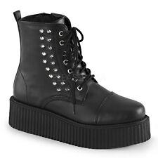 "New Demonia 2"" Vegan Platform Studded Spiked Creeper Boots Goth Punk Men's 4-13"