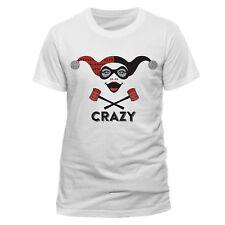 Official DC Originals Harley Quinn Crazy T-shirt Batman Joker Crossbones White