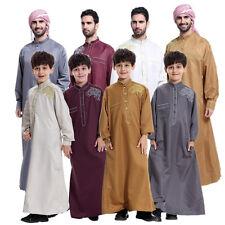 UAE Men Boys Embroidered Prayer Thobe Kaftan Abaya Arab Desert Robe Muslim Dress