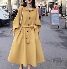 Womens Ladies Korean Fashion Loose Wool Blend Belt Long Coat Jacket Outwear 3629