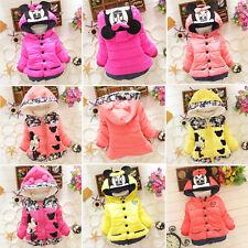 Baby Kids Girls Cartoon Minnie Mouse Hooded Snowsuit Winter Jacket Coat Outwear