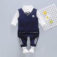 3PCS Toddler Kid Baby Boys Suit Clothes T-Shirt Tops+Vest+Pants Clothes Outfits