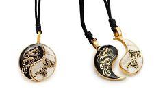 Dragon Tiger Yin Yang Best Friend Handmade Brass Necklace Pendant Jewelry