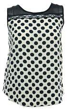 Ladies Cream Black Polka Cami T-shirt Top Lace Detail Camisole Vest Top Bnwt