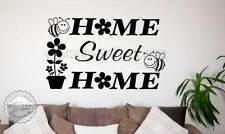 HOME SWEET HOME Famiglia Muro Adesivo Citazione Decalcomania Decor con Bombi & Flowers