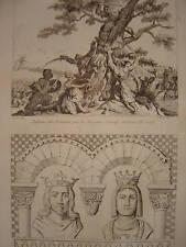 Gravure de LOUIS VII dit le Jeune  et ALIX  Sarrasins