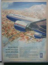 9/1996 PUB ROLLS-ROYCE TRENT 800 ENGINE AVION BOEING 777 ORIGINAL AVIATION AD