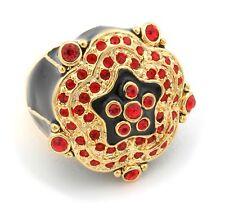 Zest Golden Indian Swarovski Crystals Ring Red & Black