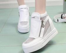 Women's Platform Hidden Wedge Mesh High Heels Ankle Sneakers Zipper Casual Shoes