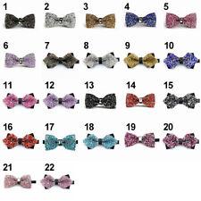 Adjustable Men's Tie Glitter Rhinestone Clip-On Tuxedo Bow Tie Formal Party Wear