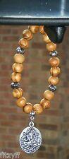 In Car Ganesha Pendant & Wood Wooden Beads Ganesa Ganapati Hindu Elephant Charm