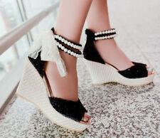 Lady Wedge Platform Heel Open Toe Bead Sweet Summer Beach Sandal Shoes Plus Size