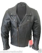 Black Armoured Motor Cycle Bike Cruiser Touring Chopper Bikers Leather Jacket