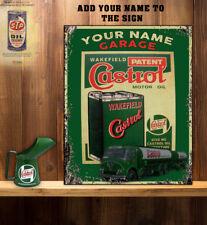 PERSONALISED CASTROL OIL TANKER GARAGE WORKSHOP   Retro Vintage  Metal Wall Sign