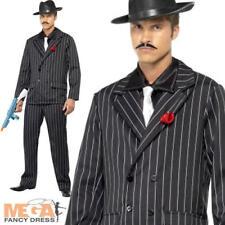 COOL Gangster Nero Gessato Vestito da Uomo 1920s Fancy Dress Party Vestito Costume