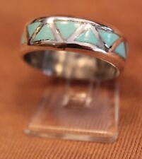 zarter Zuni Wedding Band - Ring, Freundschaftsring, Türkis, Silber, Indianer