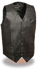 Men's Very Thin & Lightweight Black Leather Vest w/ Snap Front Closure  EL1310GO