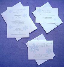 100 Personalized Custom Winter Snow Snowflake Wedding Invitations Complete Set