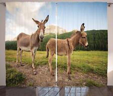 Donkey Curtains 2 Panel Set Decoration 5 Sizes Window Drapes Ambesonne