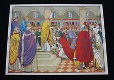 C294 Affiche scolaire vintage Couronnnement Charlemagne Clovis Pavois MDI 91*68