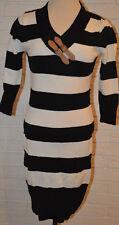 0f122bf30f Women s Rue 21 Black   White Stripe 3 4 Sleeve Sweater Dress Sizes M