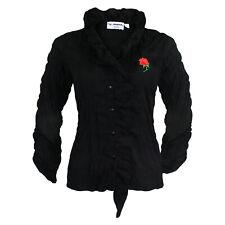 Trachtenbluse Damen Bluse Rüschenbluse Halbarm Schwarz Stickerei Rose Reduziert
