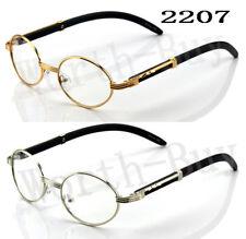 New Designer Clear Lens Oval Frame Eye Glasses Vintage Fashion Retro Wood Buffs
