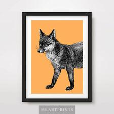 FOX ART PRINT POSTER Animals Colourful Colorful Pop Bright Decor Illustration