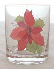 BLOCK CHINA POINSETTIA ROCK GLASS S 4 OLD FASHION 10 OZ HOLIDAY CHRISTMAS