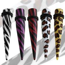 1 Dehnstab oder 1 Set Dehner Zebra Leopard Weiß Rot Braun Piercing Dehnungsstab