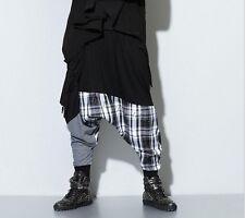 New Hip Hop Harem Pants Men's Stitching Loose Casual Low Drop Crotch Trousers Sz