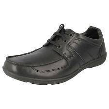 Clarks 'Bradley Estrella' Hombre Zapatos De Piel Negros Con Cordones