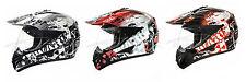 Crosshelm mit Visier Quad ATV Enduro Helm Motorradhelm Schwarz Weiß Rot S M L